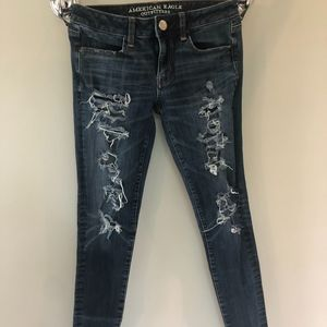 Dark Blue American Eagle Jeggings with Rips